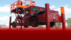 DUX P1 SL6000 Scissor Lift for many applications including surveying, scaling, roof bolting, pipe handling, and AN/FO loading