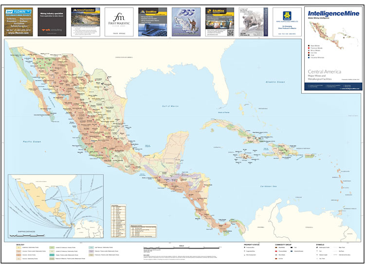 Poster Mining Maps Central America Mining Map IntelligenceMine - Us iron mines map