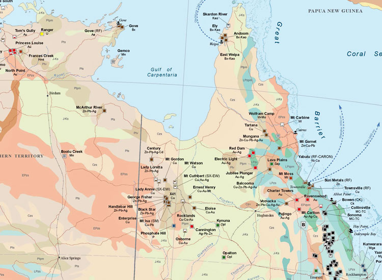 Major Mines and Metallurgical Facilities of Australia and Oceania